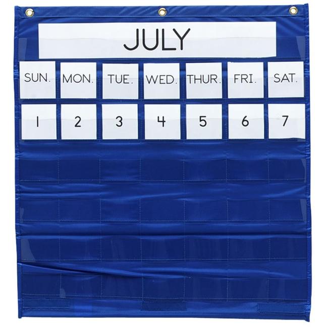 Classroom Calendar Chart : Pacon monthly calendar pocket chart blue each