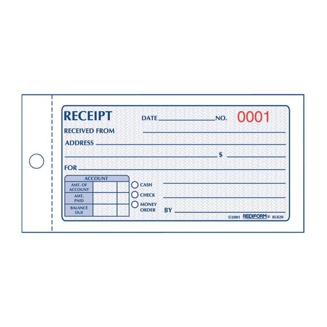 rediform money receipt 2 part collection forms quickship com