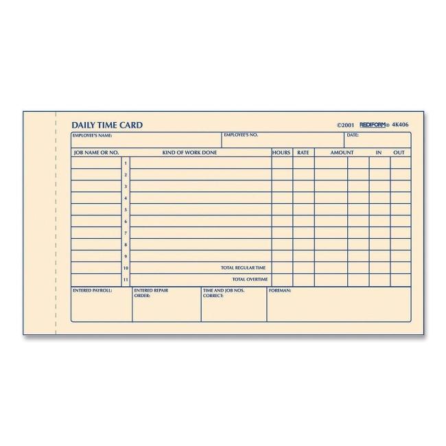 rediform time clock cards 7 x - Time Card Clock