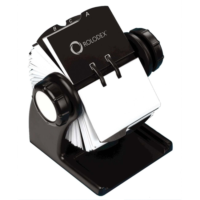Rolodex woodtones rotary business card file black quickship rolodex woodtones rotary business card file black colourmoves