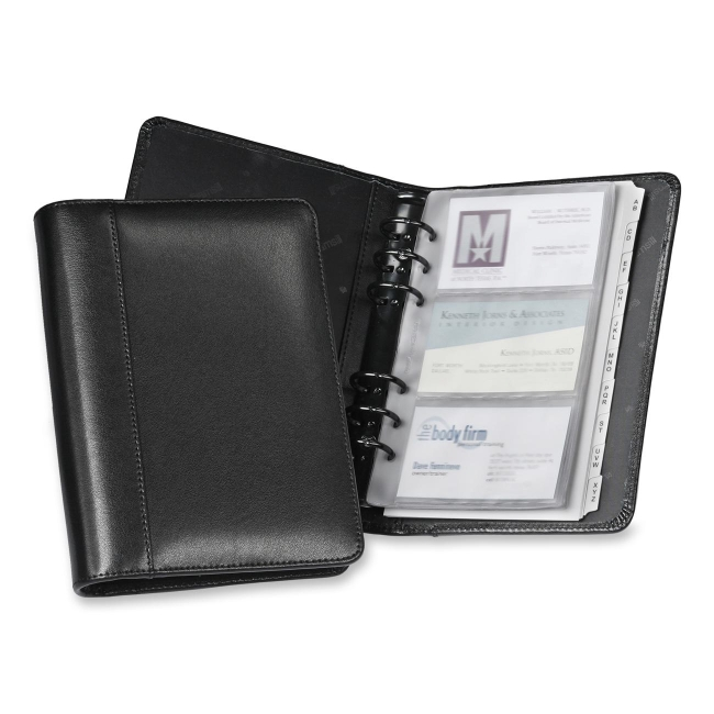 samsill regal leather business card binder black leather - Business Card Binder
