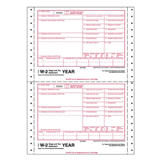 Tops Standard W-2 Tax Form