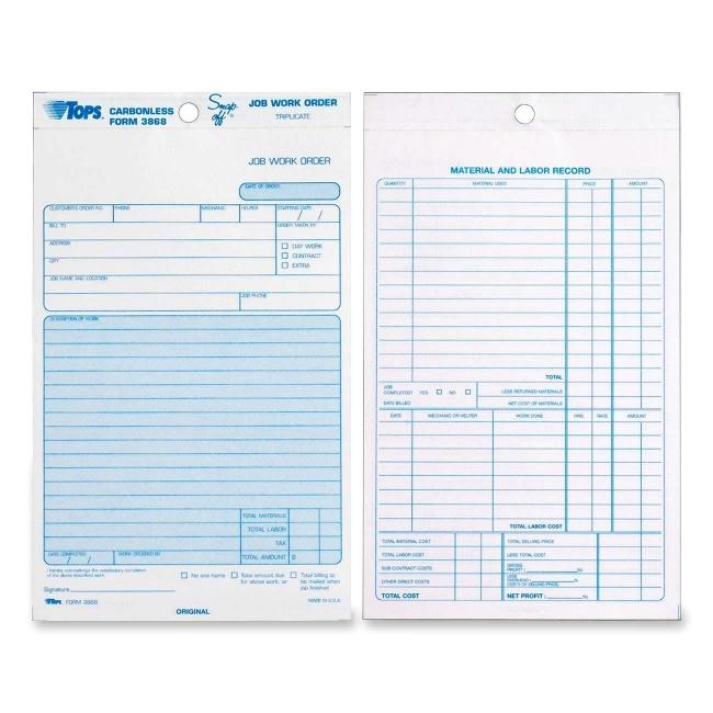 tops triplicate job work order form carbonless