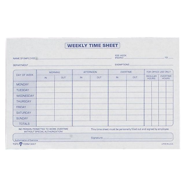 tops weekly timesheet form blue ink quickship com