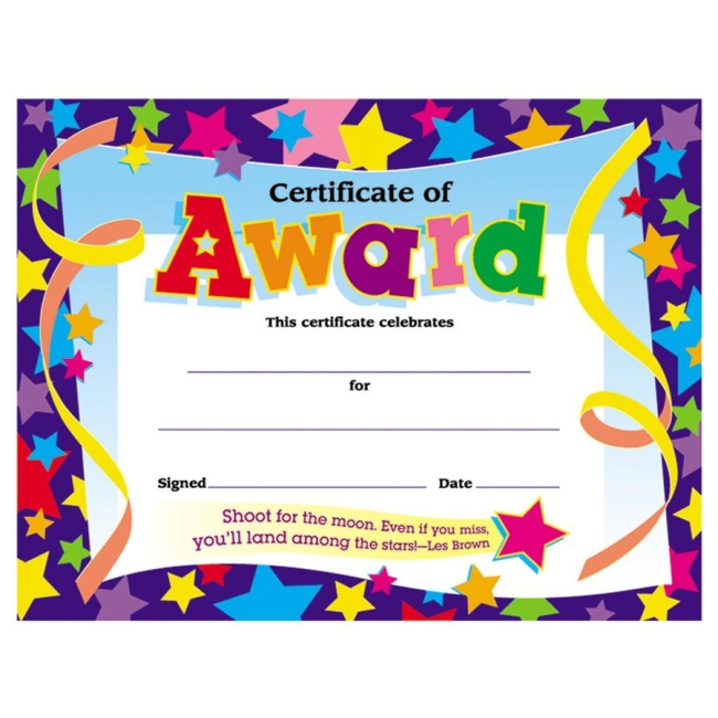 trend shoot for the moon award certificate quickship com