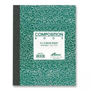 Ampad Medium Weight Composition Book - 80 Sheet - Quad Ruled - 1 Each - White Paper