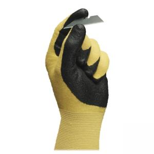 HyFlex Ansell Nitrile Gloves - Abrasion Resistant, Knit Wrist, Latex-free - Nitrile - 12 / Pack - Black, Yellow
