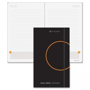 "Mead At-A-Glance Lined with Date Box Planning Notebook - Daily - 5"" x 8.37\"" - 1 Day Single Page Layout - Leather - Black"