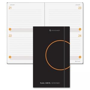 "Mead At-A-Glance Undated Planning Notebook - Daily - 5"" x 8.37\"" - 2 Day Single Page Layout - Leather - Black"