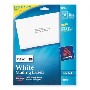 "Avery Address Labels White 300/Pack 1"" Width x 2.62"" Length"