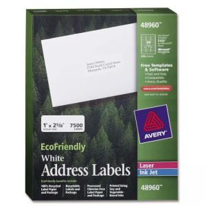 "Avery EcoFriendly Address Labels White 2.63"" Width x 1"" Length"