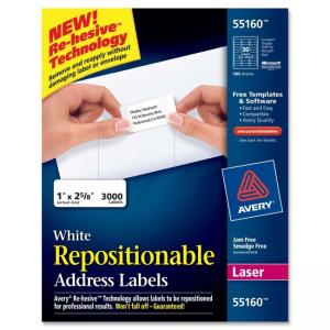 "Avery Repositionable Adhesive address labels - 3000 labels - White 2.63"" Width x 1"" Length"