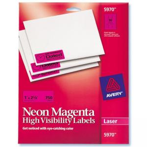 "Avery High Visibility Labels - neon magenta 1"" Width x 2.62"" Length  750 / Pack"