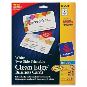 "Monarch Avery Clean Edge 88220 Business Card - For Inkjet Print - Business Card - 2"" x 3.50\"" - Matte - 160 Card - White"