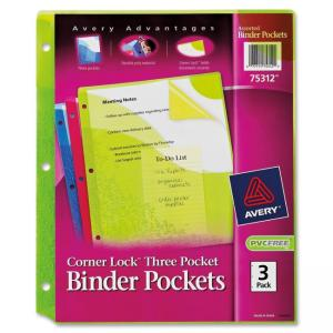 "Monarch Avery Corner Lock Three Pocket Binder Pockets 75312, Assorted, Pack of 3 - Letter 8.50"" x 11\"" - 3 / Pack - Green, Pink"