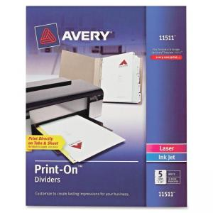 "Monarch Avery Customizable Print-On Dividers - Print-on - 8.50"" x 11\"" - 5 / Set - White Divider"