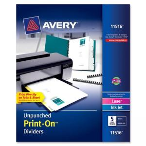 "Monarch Avery Customizable Unpunched Print-On Dividers - 5 x Divider - Print-on - 9.50"" x 11\"" - 5 / Box - White Divider"