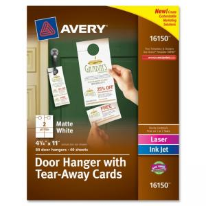 Monarch Avery Door Hanger with Tear-Away Cards - White