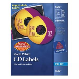 Avery Ink Jet CD/DVD Labels - 40 / Pack - White