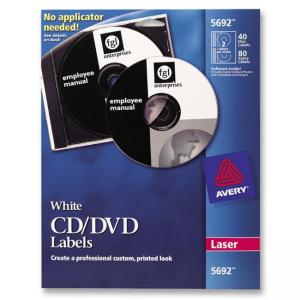 Avery Laser CD/DVD Labels - 40 / Pack - White
