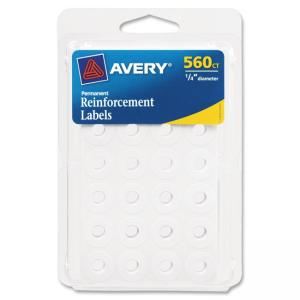 "Monarch Avery Permanent Reinforcement Label - 0.25"" Diameter - Polyvinyl - 560 / Pack - White"