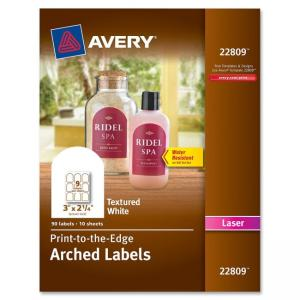 "Monarch Avery Promotional Label - 3"" Width x 2.25\"" Length - 90 / Pack - Arch - 9/Sheet - Laser - White"