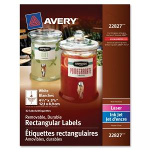 "Monarch Avery Removable Durable Rectangular Labels - 3.50"" Width x 4.75\"" Length - 40 / Pack - 4/Sheet - Polyester - Laser, Ink"