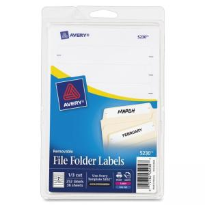 "Monarch Avery Removable Laser/Inkjet Filing Labels - 0.67"" Width x 3.44\"" Length - 252 / Pack - Rectangle - 7/Sheet - Paper - L"