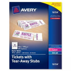 "Monarch Avery Tickets With Tear-Away Stubs 16154, Matte White, 1-3/4"" x 5-1/2\"", Pack of 200 - 1.75\"" Width x 5.50\"" Length - 2"