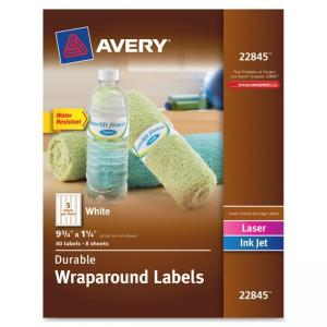 "Monarch Avery Wraparound Durable Labels - 9.75"" Width x 1.25\"" Length - 40 / Pack - Rectangle - 5/Sheet - Laser, Inkjet - White"