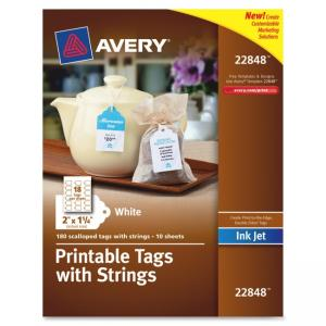 "AVERYS Inkjet Printable Tags with Strings - 2"" x 1.25\"" - 180/Pack - Paper - White"