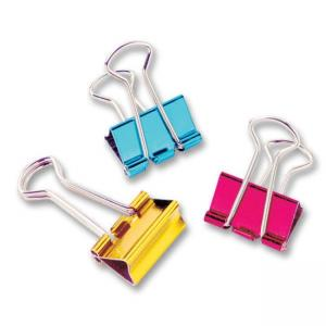 "Baumgartens Metallic Colored Binder Clip Assorted 12 / Pack - Mini - 0.50"" Width"
