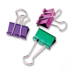 "Baumgartens Metallic Colored Binder Clip - Assorted 8 / Pack - Small - 0.75"" Width"
