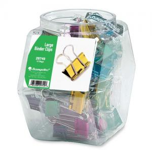 "Baumgartens Colored Binder Clips Tub - Assorted Colors 12 / Display Box - Large - 1.25"" Width"