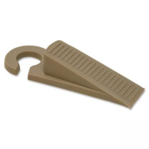 Baumgartens Skid-free Door Stopper with Hook - Non-skid Base - Putty