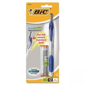 BIC Automatic Mechanical Pencil - #2 Pencil Grade - 0.7 mm Lead Size - Black Lead - Transparent Blue Barrel - 1 Pack