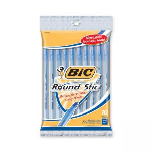 BIC Round Stic Ballpoint Pens - Blue Ink 12 / Pack