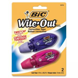 "BIC Wite-Out Mini Correction Film - 0.20"" Width x 19.67 ft Length - 1 Line(s) - White Tape - Micro Dispenser - Odorless, Flexib"