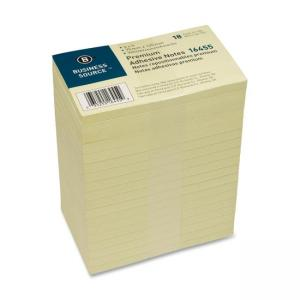 "Business Source Adhesive Note Yellow 18 / Pack 3"" Width x 5"" Length"