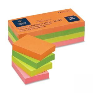 "Business Source Adhesive Note Neon 12 / Pack 1.50"" Width x 2"" Length"