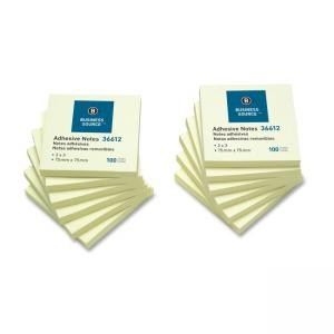 "Business Source Adhesive Notes Yellow 12 / Pack 3"" Width x 3"" Length"