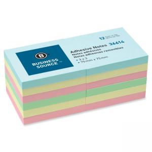 "Business Source Adhesive Note Assorted 12 / Pack 3"" Width x 3"" Length"