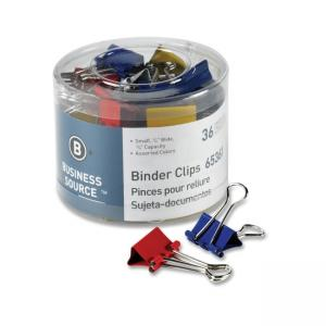 "Business Source Binder Clip Assorted 36 / Pack 	Small - 0.75"" Width"