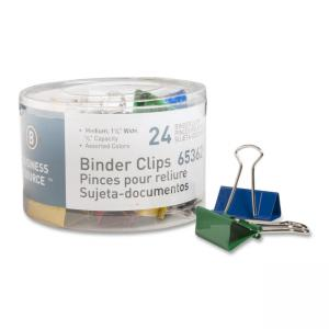 "Business Source Binder Clip Assorted Colors  24 / Pack - Medium - 1.25"" Width"