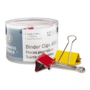 "Business Source Binder Clip Assorted 12 / Pack - Large - 2"" Width"