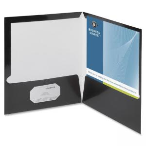 "Business Source Two-Pocket Folders with Business Card Holder - Letter - 8.50"" x 11\"" - 2 Pockets - 100 Sheet - Black - 25 / Box"
