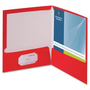 "Business Source Two-Pocket Folders with Business Card Holder - Letter - 8.50"" x 11\"" - 2 Pockets - 100 Sheet - Card Paper - Red"