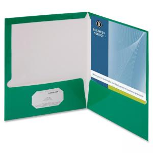 "Business Source Two-Pocket Folders with Business Card Holder - Letter - 8.50"" x 11\"" - 2 Pockets - 100 Sheet - Card Paper - Gre"