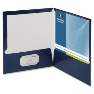 "Business Source Two-Pocket Folders with Business Card Holder - Letter - 8.50"" x 11\"" - 2 Pockets - 100 Sheet - Card Paper - Nav"