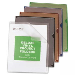 "C-line Deluxe Colored Back Vinyl Folders - Letter - 8.50"" x 11\"" - Vinyl - Clear, Red, Blue, Green, Black - 35 / Box"